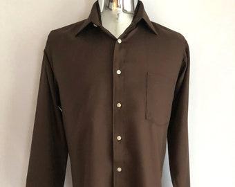 Vintage Men's 70's Disco, Shirt, Brown, Polyester, Long Sleeve by Van Heusen (L)