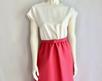 Vintage Women's 80's Belted Dress, White, Pink, Short Sleeve by Joan Curtis (M)