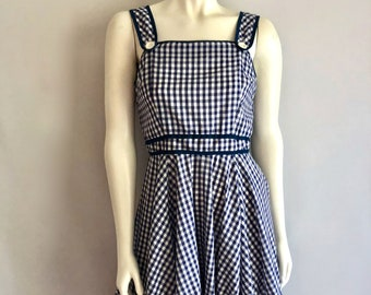 Vintage Women's 60's Checkered, Dress, Blue, White, Ruffle (S)