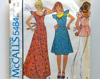 Vintage Sewing Pattern Women's 70's McCall's 5484, Dress, Top, T-Shirt (XS)