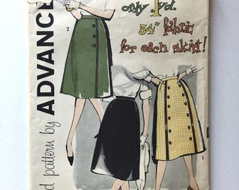 Vintage Sewing Pattern, Women's 60's Mostly Uncut, Advance 9464, A Line Skirts (L)
