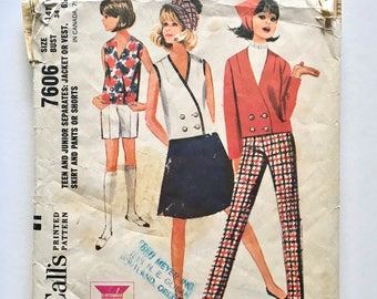 Vintage Sewing Pattern, Women's 60's Partially Uncut, McCall's 7606, Jacket, Vest, Skirt, Pants, Shorts (S)