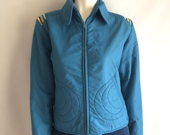 Vintage Women's 70's Roffe, Ski Jacket, Blue, Striped, Jacket (M)