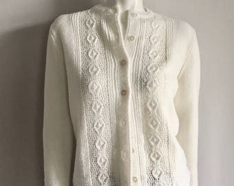 Vintage Women's 60's White Cardigan Sweater by Cuddle Knit (M)