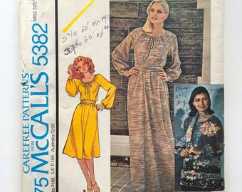 Vintage Sewing Pattern 70's Uncut, McCall's 5382, Dress, Top, Scarf, Belt (M)