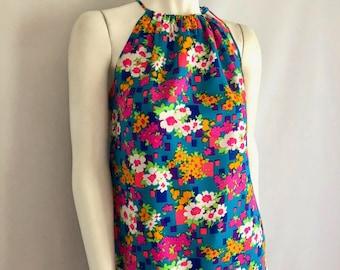 Vintage Women's 70's Neon, Halter Top, Floral, Hippie Blouse (M)