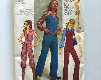 Vintage Sewing Pattern, Teens/Women's 70's Partially Uncut, Simplicity 9624, Jumpsuit in two Lengths, Blouse (XXS)