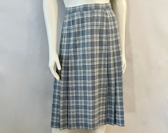 Vintage 70's Young Pendleton, Blue Plaid, Pleated, Wool, Skirt (M)