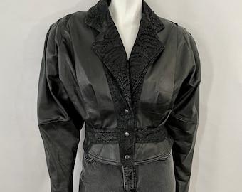 Vintage 80's Black Leather Jacket, Fully Lined, Dolman Sleeve (S)