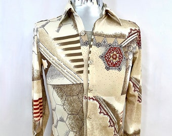 Vintage Men's 70's Tan, Geometric, Long Sleeve, Disco Shirt (S)