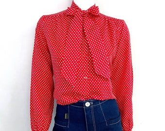 Vintage 70's Red, Polka Dot, Long Sleeve, Bowtie Blouse (M)