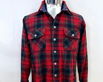 Vintage Men's 80's Arrow, Red, Plaid, Wool, Flannel Shirt (M)