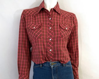 Vintage 80's Red, Plaid, Snap Button, Long Sleeve, Blouse (M)