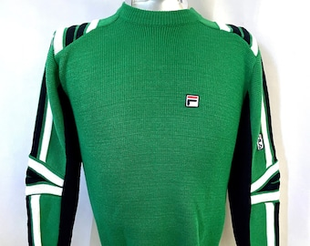 Vintage Men's 90's Fila Italia, Green, White, Striped, Sweater (S)