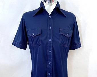 Vintage Men's 70's Disco, Navy Blue, Polyester, Short Sleeve, Shirt by JC Penney (M)