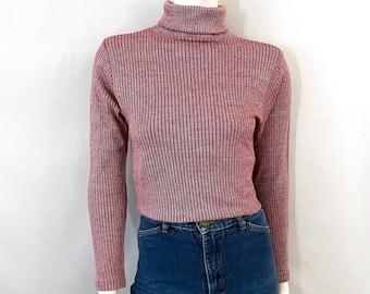 Vintage 70's Mr Wrangler, Red, Turtleneck Sweater, Long Sleeve (M)