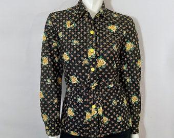 Vintage 70's Black, Yellow, Floral, Long Sleeve, Disco Blouse (M)