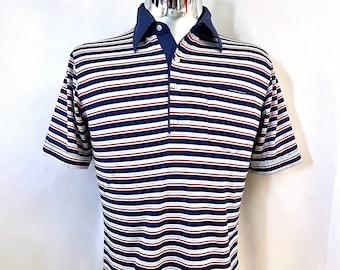 Vintage Men's 70's Striped, Polo Shirt by Morro Bay (M)