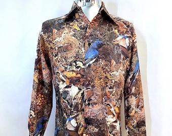 Vintage Men's 70's Photo Printed, Bird, Long Sleeve, Disco Shirt (M)
