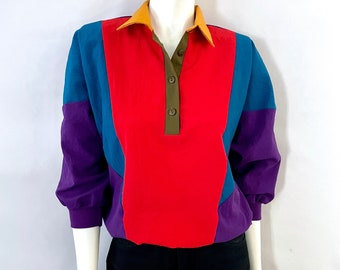 Vintage 80's Colorblock, Dolman Sleeve, Blouse by Silver Threads (M)