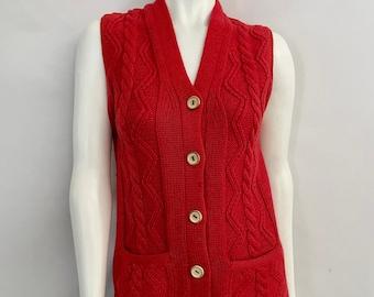 Vintage Women's 70's Boho, Virgin Wool, Sleeveless, Cardigan (S)