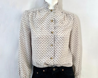 Vintage 80's Gray, Floral, Long Sleeve, Blouse by Jane More (M)