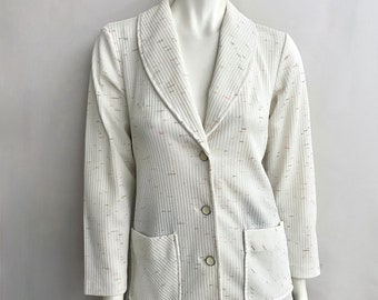 Vintage Women's 70's White, Polyester, Long Sleeve, Jacket (S)