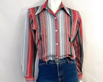 Vintage 70's Red, Gray, Striped, Long Sleeve, Blouse by Koret of Ca. (L)