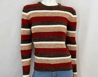 Vintage 70's Space Dyed, Long Sleeve, Crew Neck Sweater (M)