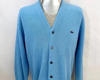Vintage Men's 70's La Coste Izod, Blue, Acrylic, Cardigan Sweater (L)