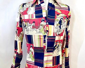 Vintage Men's 70's White, Pink, Polyester, Long Sleeve, Disco Shirt (S)