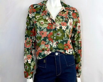 Vintage Women's 70's Green, Floral, Polyester, Long Sleeve, Blouse (L)