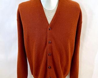 Vintage Men's 70's Arnold Palmer, Burnt Orange, Acrylic, Cardigan Sweater