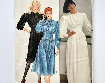 Vintage 80's Uncut, Butterick 6207, Long Sleeve, Dress (S)