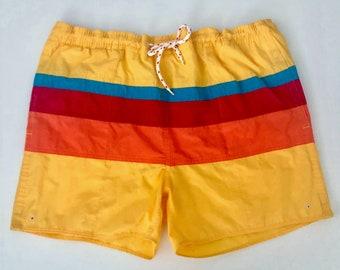 685cd65ed2 Vintage Men's 80's Striped, Colorblock, Swim Trunks, Shorts (W36)