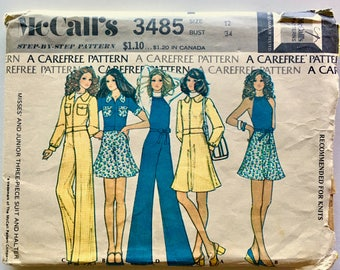 Vintage Sewing Pattern, Women's 70's McCall's 3485, Three-Piece Suit, Halter (S)