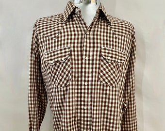 Vintage Men's 70's Dee Cee, Brown, White, Checkered, Snap Button, Long Sleeve (XL)