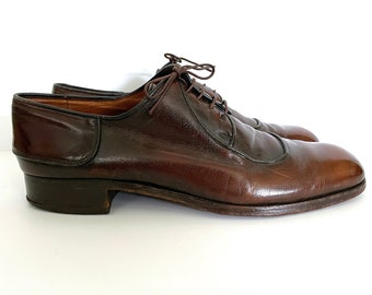 Vintage 80's Bally Of France, Brown, Leather Lace Ups (Size 10 1/2)