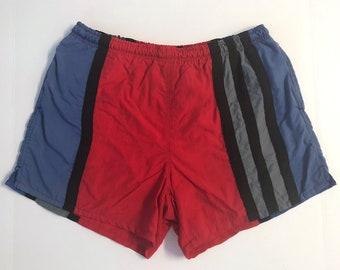 079b43bd3a Vintage Men's 80's Striped Swim Trunks, Shorts by Surf Odyssey (W32-34)