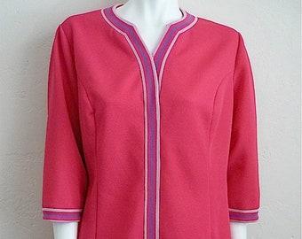 Vintage Women's 60's Amy Adams, Mod Dress, Pink, Knit, A Line (XL)