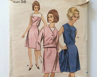 Vintage Sewing Pattern Women's 60's Partially Uncut, Butterick 3861, Dress, Suit, Blouse (L)