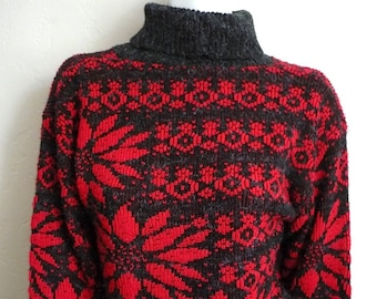 Vintage Women's 80's Sweater, Red, Black, Long Sleeve by French Navy (M)