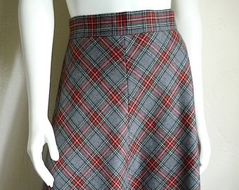 Vintage Women's 80's Plaid Skirt, Wool, Polyester, Grey, Red, A Line (M)