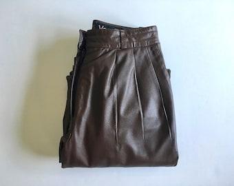 d90492325122 Weinlese-Frauen 80er Lederhose, hohe Taille, braun, gerade Bein von Vanelli  (XS)