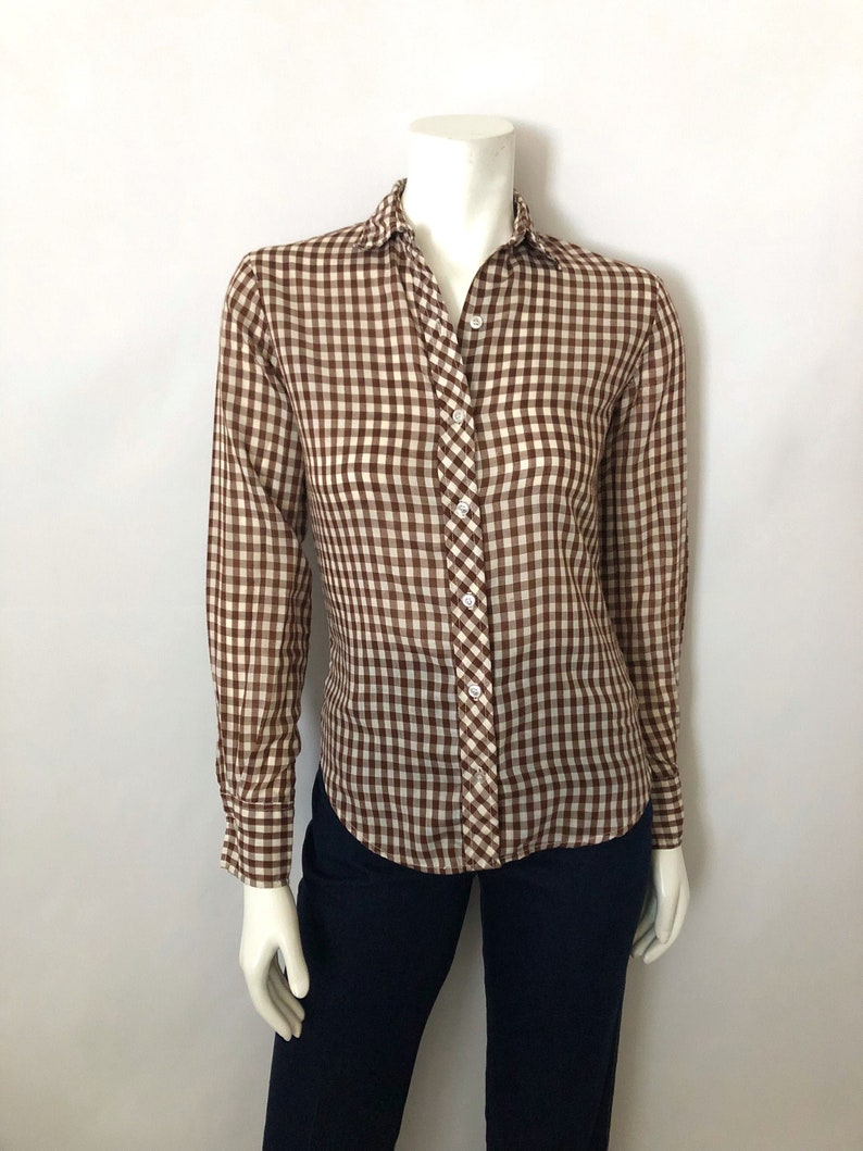 Vintage Women's 80's White Brown Checkered Long image 0