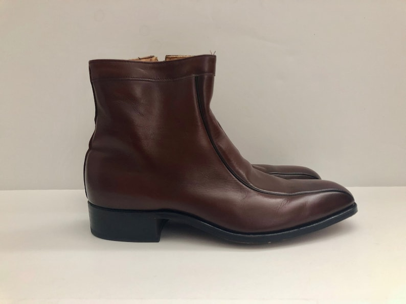 Vintage Men's Shoes 80's Mod Brown Chelsea Boots image 0