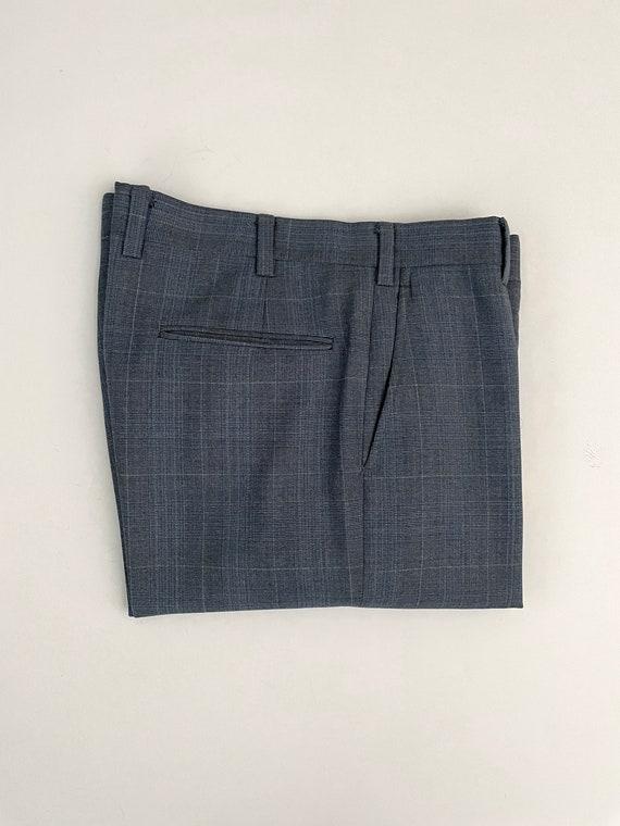 Vintage Men's 80's Blue-Gray, Plaid, Bootcut, Pan… - image 8