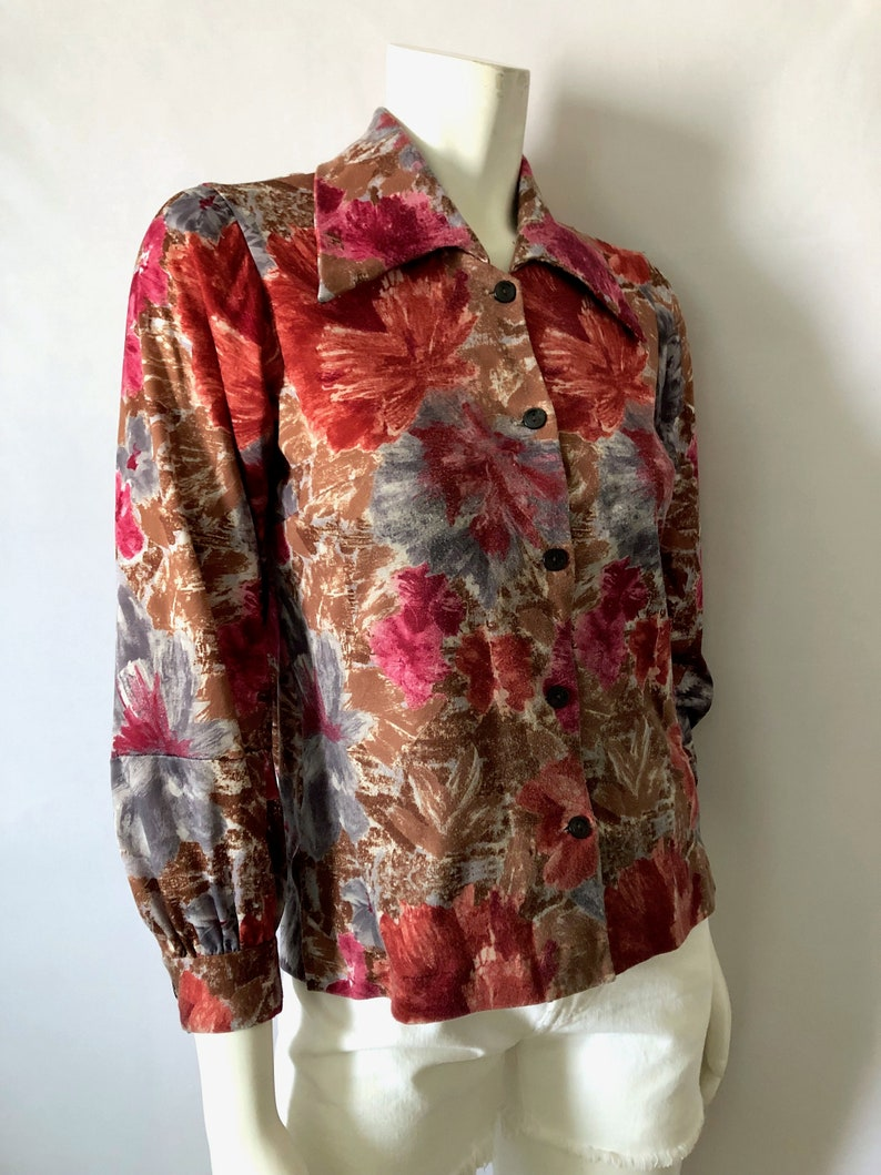 Vintage Women's 70's Disco Floral Polyester Long image 0