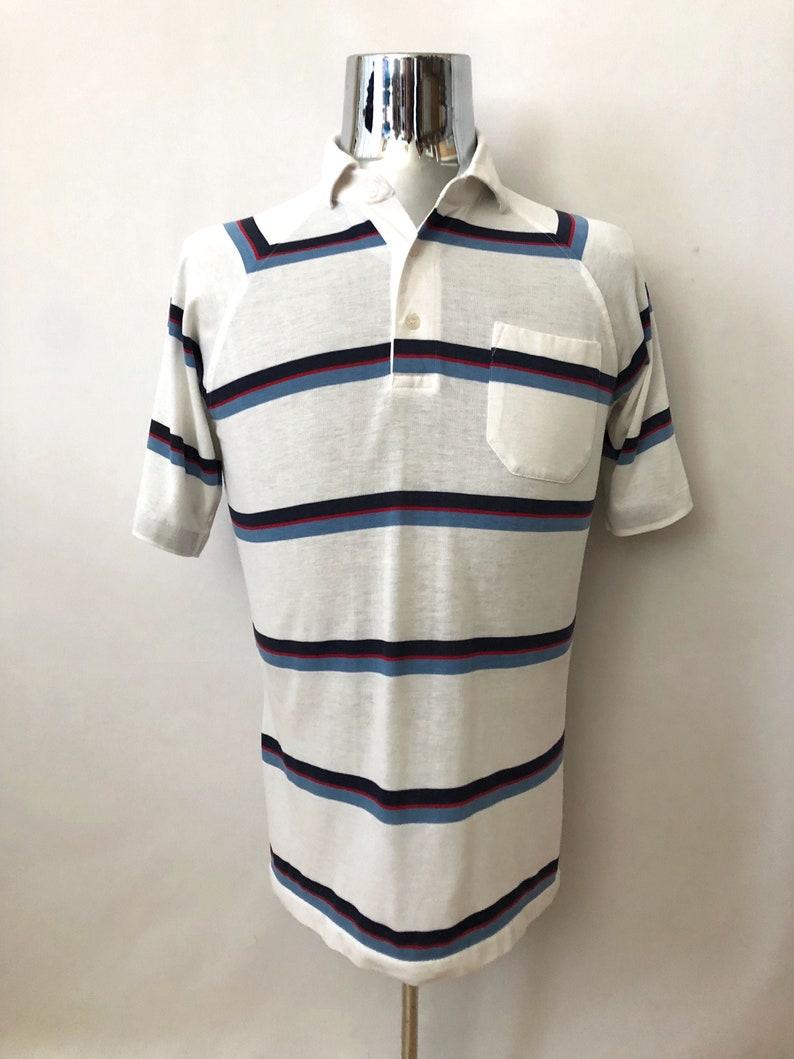 Vintage Men's 80's White Striped Short Sleeve Polo image 0