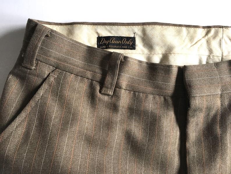 Orange W36 xL31 Slight Flare Leg by Sears Roebuck and Co White Vintage Men/'s 80/'s Striped Pants Brown